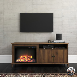 Mid-century Electric Fireplace Tv Stand Tvs Up To 65-inches Walnut Media Console