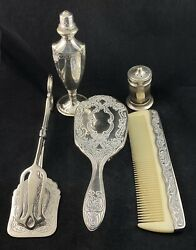 Silver Plate Epns Art Deco Collection Brush Comb Shaker Server Tongs Vintage