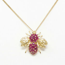 Nyjewel 14k Yellow Gold 3ct Natural Ruby Bee Brooch Pendant Necklace