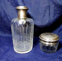 G. Keller Antique French Set Perfume Bottle And Powder Box Sterling Crystal 1800and039s