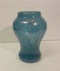 Steuben Carder Era Blue Cluthra Bubble Glass 9 Vase Style 5190 C. 1920and039s
