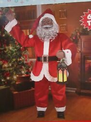 Santa Clause 60 African American Santa Claus Singing With Lighted Lantern New