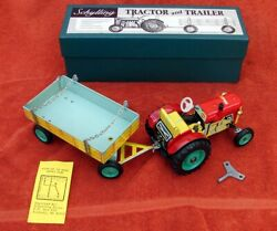 Nos Schylling Mechanical Wind Up Tractor And Trailer Shifts Brake Czechosvakia Nib