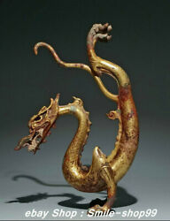 9 Old Tang Dynasty Pure Bronze 24k Gold Gilt Animal Stand Dragon Long Statue