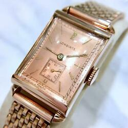 Longines Manual Winding 1943 Square Antique Brand Wristwatch Working Product