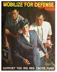 Wwii American Red Cross Poster Norman Rockwell Art Mobilize For Defense