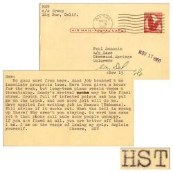 Hunter S. Thompson Letter Signed Re Crotch And Poison Oak