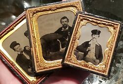 Three Ambrotypes Of Same Person With His Dog And Friend - All In Good Shape