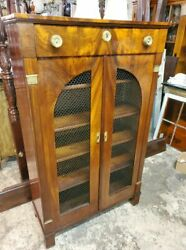 Antique Flame Mahogany Tall Cupboard Cabinet Andndash Beautiful