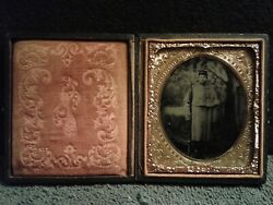 Ambrotype Of Civil War Soldier W/rifle And Bayonet In Caped Over Coat 6th Plate