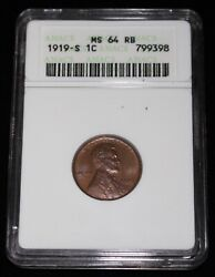 1919 S Usa One Cent - Lincoln - Anacs Ms64 Rb - Nice Details - High Grade