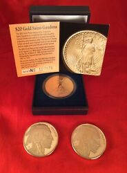 Collectible Gold Clad Coins 3 Tribute Coins Buffalo And St Gaudens. Copy Coins.