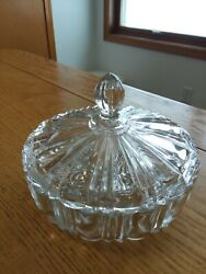 Anchor Hocking Old Cafe Glass Covered Candy Dish Round Ribbed Web Depression