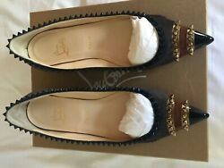 Christian Louboutin Chic Spike Studded Pointed Glitz Smoking Slippers Size 41