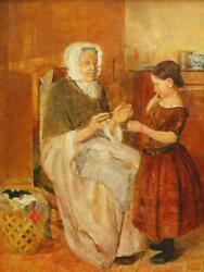 Child And Grandmother Winding Wool J. Faed Signed Antique Oil Painting On Canvas