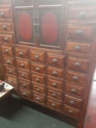 33 Drawer Oriental Apothecary Spice Jewlry Cabinet With Red Center Doors
