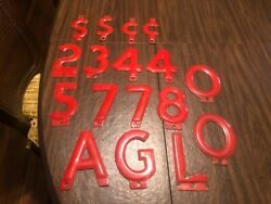 Vintage Red Porcelain Gas Station Letters And Numbers. 17 @ 6''. Rare, Must See
