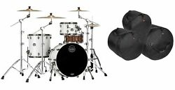 Mapex Saturn Evolution Hybrid Polar White Lacquer Drums And Bags 22x1612x816x16