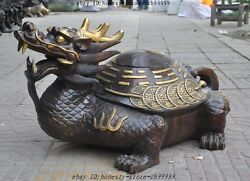 29lucky Chinese Bronze Fengshui Wealth Money Coin Dragon Turtle Tortoise Statue