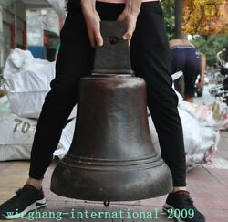 27 Old Chinese Buddhism Temple Pure Bronze Bell Chung Chimes Clock Zhong Statue