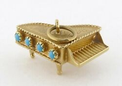 Vintage Italian 18k Yellow Gold And Turquoise Grand Piano Charm Or Pendant C.1950s