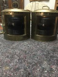 Pair Of Vintage Nautical Kerosene Ships Lamps. Brass With Blue And Red Glass.