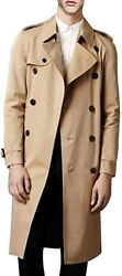 Menand039s Double Breasted Trench Coat Casual Lapel Long Sleeve Windbreaker Jacket