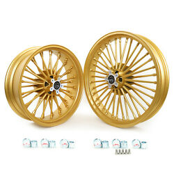 Gold 21 And 18 36 Spoke Wheels Set For Harley Dyna Fxdc Fxdl Fxdwg Softail Fxstd