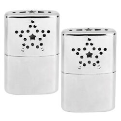 2pcs Stainless Steel Reusable Pocket Hand Warmers Pocket Heaters 24 Hours Silver