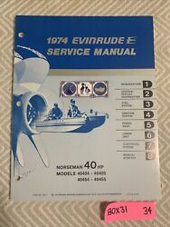 1974 40 Hp Genuine Evinrude Johnson Outboard Repair And Service Manual 40hp