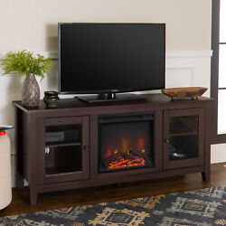 Electric Fireplace Tv Stand For Tvs Up To 64 Inches Espresso Wood Media Console