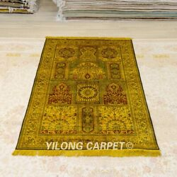 Yilong 4'x6' Golden Handmade Silk Carpet Antique Washed Classic Area Rug Y381a