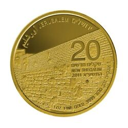 Israel 1 Oz Gold Coin Western Wall 2011 2nd Coin In Holy Land Series New