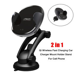 2 In 1 Car Auto Qi Wireless Fast Charging Mount Holder Stand Part For Cell Phone