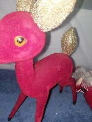 Vintage 12 Tall Flocked Red Reindeer With Gold Glitter Ears And Tail W/santa