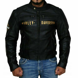 Hd Passing Link Triple Vent Biker Leather Jacket Free Shipping