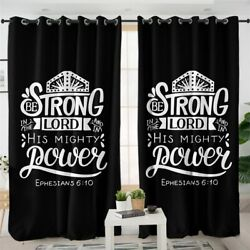 Quote Strong Lord Power Jesus Bible Window Living Room Bedroom Curtains Drapes