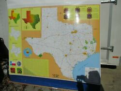 New Cram Pull Down Texas Map 60 X 60 Classroom Home School New In Box
