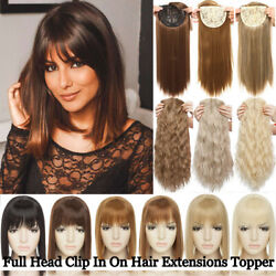 Women Topper Toupee Hairpiece Clip In Hair Extensions With Bangs For Human Long