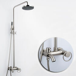 Contemporary Setti Brushed Nickel Brass Single Handle Shower System