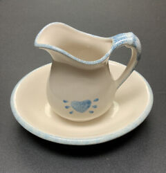 Vintage Antique Water Pitcher And Wash Basin White And Blue