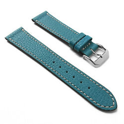 19mm Blue French Calf Naturally Textured Shrunken Leather Watch Band Strap