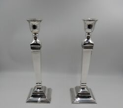 Pair 14quot; Pottery Barn Silver Plate MAXFIELD HOTEL Candlestick Holders