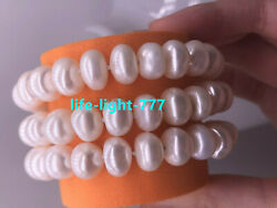 3 Rows Aaa 9-10mm Natural Akoya White Pearl Bracelet 14k Clasp 7.5-8 Inch