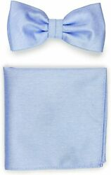 Bows-n-ties Mens Solid Color Bow Tie And Hanky Set In Matte Finish