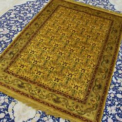 Yilong 4'x6' Home Decor Handknotted Silk Rugs Vintage Gold Luxury Carpet 084b