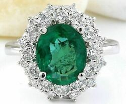 Natural Emerald And Diamond 14k Solid White Gold Ring