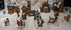 Lighted Christmas Village 14-pc Porcelain 4 Houses People Snow Fence