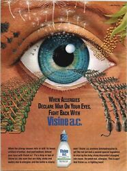 Big Eye Visine Illustrated Page Cats Lawn Mowers Pollen 1989 Vintage Print Ad