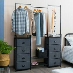 8 Drawer Fabric Dresser With Rack Multifunctional Storage Tower Metal - New Cy